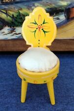 Pin Cushion Vintage Wood Chair Hand Carved & Painted Sewing Accessory