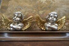 KERAMIK-FIGUREN, 2 Stück, ENGEL in GOLD & SILBER, je 28 cm Lang, TOP