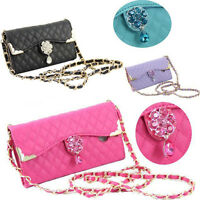 Cross Body Strap Bling Diamond Jewelled Crystal Leather Wallet Cards Case Cover