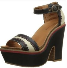 Black ivory & red Hush Puppies platform heels Labarre Nineteen Fifty Eight sz 7