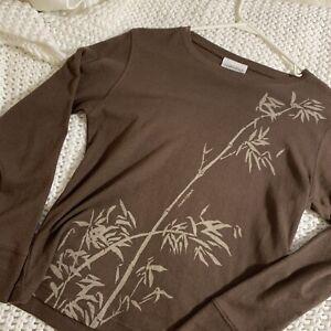 Marushka Women's Hand Painted Brown Leaf Botanical Print Size S