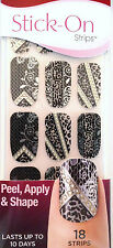 Kiss Nails Stick- On Nail Strips Nail Appliques  # 58421 Satin Leopard & Lace