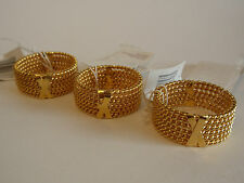 Set 3 Gold Metal Twisted Rope Napkin Rings Kemp & Beatley Shiny X Design Hechts