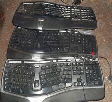 1 lot of 3 Microsoft KU-0462 USB Ergonomic Computer Desktop Keyboards