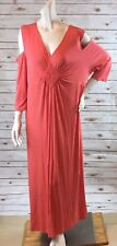Catherines Any Wear Dress sz 3X 26/28W Open Cold Shoulder Long Maxi Stretch NWT