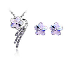 New Sale Jewelry Silver Plated Purple Crystal Pendant Necklace Earrings Set