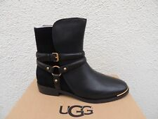 UGG KELBY BLACK LEATHER HARNESS BUCKLE ANKLE BOOTS, WOMEN US 9/ EUR 40 ~NIB