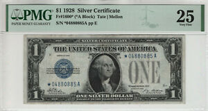 1928 $1 SILVER CERTIFICATE STAR NOTE FUNNY BACK FR.1600* PMG VERY FINE 25 (885A)