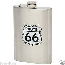 8oz STAINLESS STEEL ROUTE 66 HIP FLASK BIKER MOTORCYCLE GIFT
