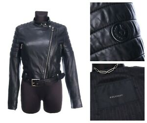 BELSTAFF ENGLAND Black Leather Biker Jacket Size 42