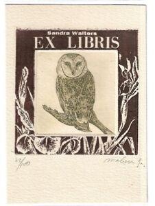 MALOU HUNG: Exlibris für Sandra Walters, Schleiereule
