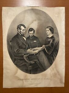 President Lincoln At Home Antique 1865 Currier & Ives Lithograph 12X15 AS IS