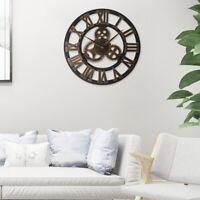 16'' 23'' Retro Large Wall Clock 3D Roman Numeral Gear Silent Home Garden Decors