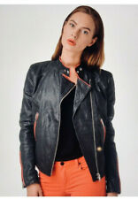 DIESEL LEATHER RACE WOMEN JACKET CRUMPLED PATCHED L-SPIKE 0EAIK NWT S(38) $1299