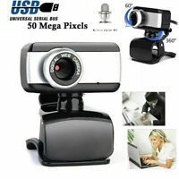 50.0 Mega Pixel USB2.0 HD Camera Webcam Clip With Microphone For PC Laptop UK