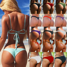 Brazilian Women V Thong Cheeky Ruched Bikini Bottom Swimwear Bathing Beachwear