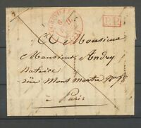 1833 Lettre CAD T13 EGREVILLE(73) Rge en PP Rouge SEINE ET MARNE Superbe X3328