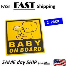 Car Exterior Baby on Board Safety Sign Sticker Decal 11cm x 11cm - 2 Pack