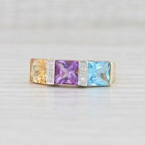 3.11ctw Citrine Amethyst Topaz Diamond Ring 10k Yellow Gold Size 8 3-Stone
