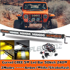 CREE 50 INCH 240W CURVED LED LIGHT BAR DRIVING OFFROAD COMBO CAR BOAT SUV PK 52""