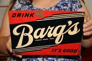 Vintage 1950's Barq's Root Beer Soda Pop Embossed Metal Sign