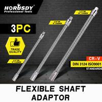 """3pc Flexible Socket Extension Bar Shaft Set 1/2"""" x10"""" 1/4"""" x6"""" 3/8""""x8"""" Ratchet"""