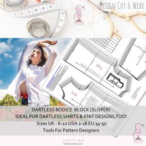 Dartless Bodice Block - (Sloper) SIZE 6-22 UK (2-18 USA) - FOR PATTERN DESIGNERS