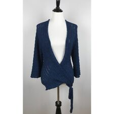 Bebe Blue Faux Wrap 3/4 Sleeves Sweater Size XS Knit Pullover Stretch Casual Top