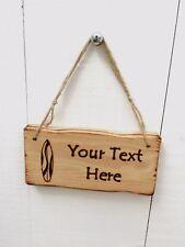 Handmade Personalised Rustic Wooden Surf Board Shack Beach Seaside Sign Plaque
