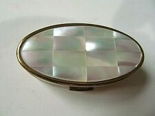 Vintage Max Factor Lipstick case w Mirror & Pearl top Made in England Gold tone