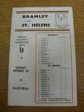 02/11/1974 liga de rugby programa: Bramley V St Helens. artículo parece estar en ir