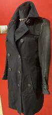 BURBERRY Black Trench Coat Leather Moto Sleeves U.S.8