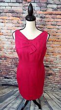 David Meister Women's Sleeveless Hot Pink Textured Work Sheath Dress Sz 6 MINT