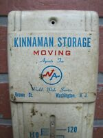 KINNAMAN STORAGE MOVING WASHINGTON NJ Old Advertising Thermometer Sign Agents NA