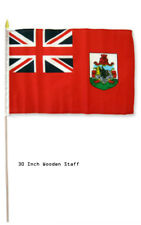 "12x18 12""x18"" Bermuda Country Stick Flag 30"" wood staff"