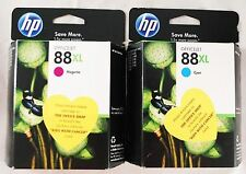 HP 88XL OfficeJet High Capacity Ink Cartridges - Cyan & Magenta Color - NEW OEM