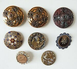 Lot of 8 Vintage Antique Buttons Victorian Metal Rhinestone GF Figure Enamel
