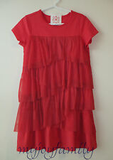 HANNA ANDERSSON Tiered Tulle Ruffle Waterfall Dress Tangy Red 100 4T 4 NWT