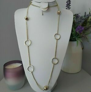 Retro Statement Gold Tone Long Round Circle Beaded Chain Costume Necklace Mod