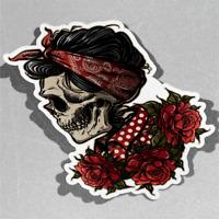Flower Skull Floral Roses Girl Tatt Vinyl Sticker Decal Window Car Van Bike 3076