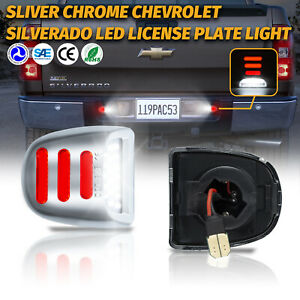 LED License Plate Lights Red Tube Lamps For Chevy Silverado GMC Sierra 1500 2500