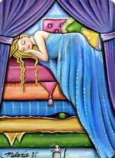 Original Raccoon Artist The Princess and the Pea Mouse Fairy Tale  ACEO Print