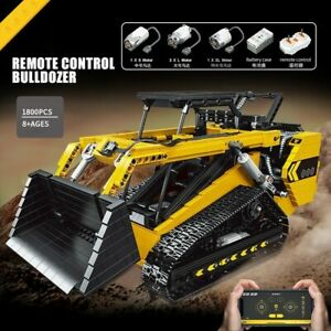 Remote Control Bulldozer Skid Steer Loader Building Blocks Motorized Car Toy NEW