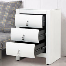 Bedroom Furniture 3 Draws Storage Unit Chest Cabinet Table WHITE MIRRORED GLASS