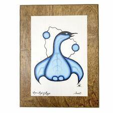 """Vintage Native Canadian David M General """"Loon Laying Eggs"""" COPY Wood Plaque"""