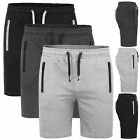 Mens Plain Gym Fleece Jogger Shorts Elasticated Waist Running Zip Pockets Big