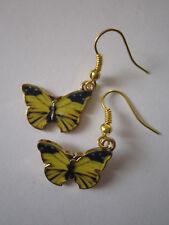 Drop / Dangle Earrings - Yellow Enamel Butterfly - Gold Plated