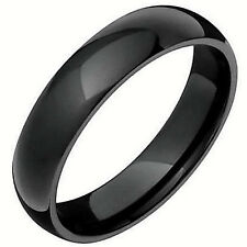 Black Plated Highly Polished TUNGSTEN CARBIDE RING BAND, size 11 - in Gift Box!