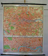 Schulwandkarte schöne alte Londonkarte Stadtplan 109x133cm vintage map von 1973