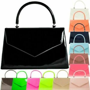 Ladies Patent Leather cute Clutch bag with handle/ Party/ Prom/ Going out bags